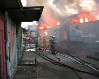 Пожар на базе КПС: огнем охвачено около тысячи квадратных метров