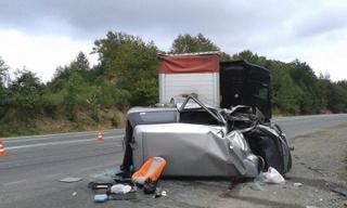 Большегруз столкнулся с микроавтобусом под Уссурийском: шесть пострадавших