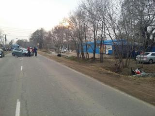 Несовершеннолетний водитель мотоцикла пострадал в ДТП в Уссурийске