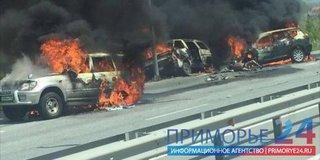 В крупной аварии в Надеждинском районе два человека сгорели в автомобиле (ФОТО, ВИДЕО)