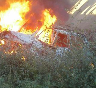 В Уссурийске шофёр джипа сгорел живьем