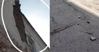 Куски стены жилого дома падают на прохожих в Уссурийске